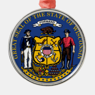 Wisconsin state flag seal united america country r metal ornament