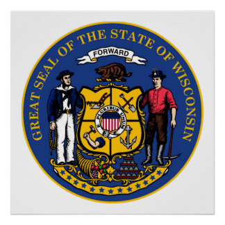 Wisconsin state flag seal united america country r poster