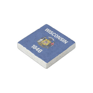 Wisconsin State Flag Stone Magnet