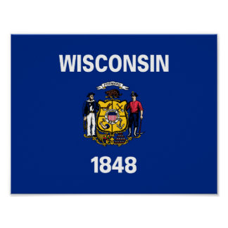wisconsin state flag united america republic symbo poster