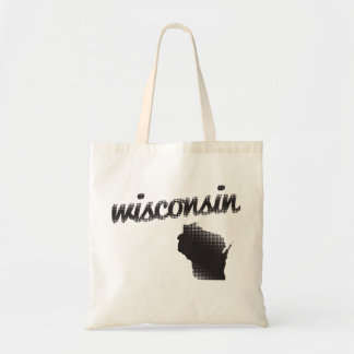 Wisconsin State Halftone Tote Bag