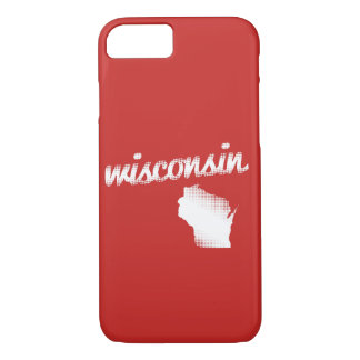 Wisconsin State in White iPhone 8/7 Case