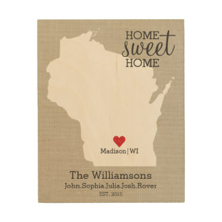 Wisconsin State Map Custom Family Name Established Wood Wall Art