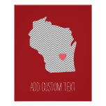 Wisconsin State Map with Custom Red Heart and Name Posters