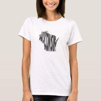 Wisconsin State Name Word Art Black T-Shirt