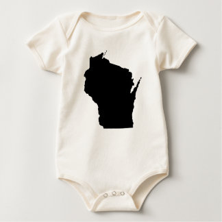 Wisconsin State Outline Baby Bodysuit