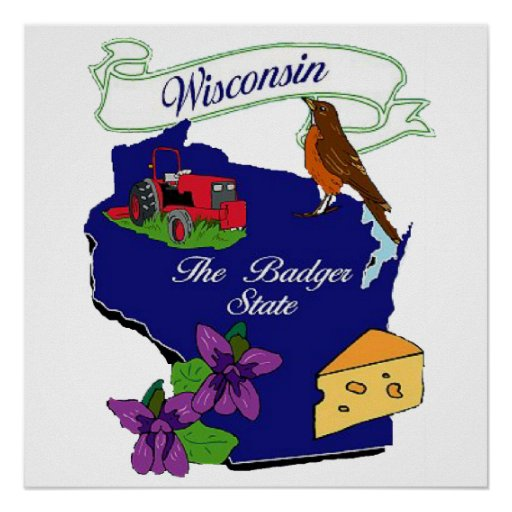 """Wisconsin State Poster 24x24"""""""