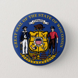Wisconsin State Seal and Motto Pinback Button