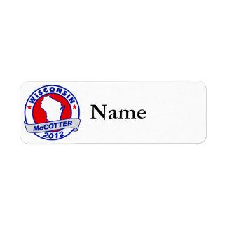 Wisconsin Thad McCotter Return Address Labels