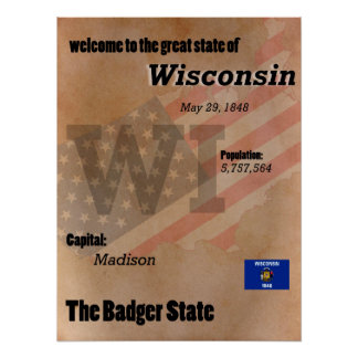 Wisconsin The Badger State Classic Poster