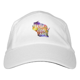 Wisconsin U.S. State in watercolor text cut out Headsweats Hat