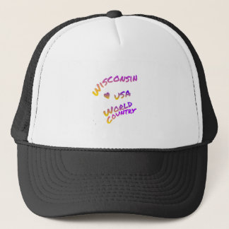 Wisconsin usa art,color,america,world,country trucker hat