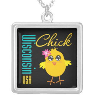 Wisconsin USA Chick Square Pendant Necklace