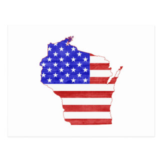Wisconsin USA flag silhouette state map Postcard
