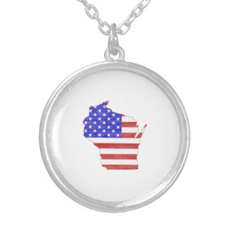 Wisconsin USA flag silhouette state map Round Pendant Necklace