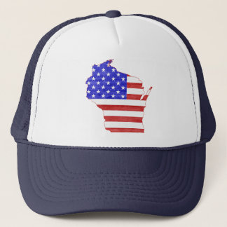 Wisconsin USA flag silhouette state map Trucker Hat
