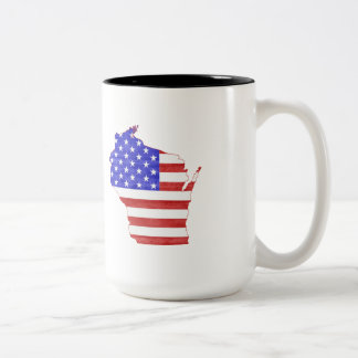 Wisconsin USA flag silhouette state map Two-Tone Coffee Mug