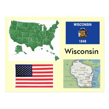 USA Themed Wisconsin, USA Postcard