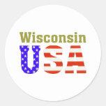 Wisconsin USA! Round Stickers