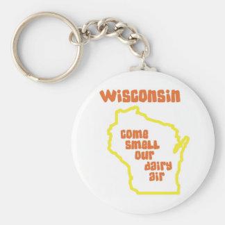 Wisconsin viene olor nuestro aire de la lechería llavero redondo tipo pin