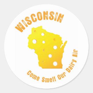 Wisconsin viene olor nuestro aire de la lechería pegatina redonda