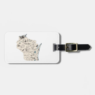 Wisconsin Vintage Picture Map Bag Tag