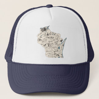 Wisconsin Vintage Picture Map Trucker Hat