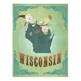 Wisconsin Vintage State Map – Green Postcard
