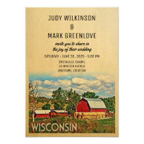 Wisconsin Wedding Invitation Farm Barn Rustic