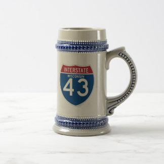 Wisconsin WI I-43 Interstate Highway Shield - Beer Stein