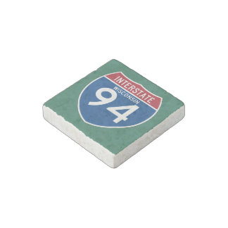 Wisconsin WI I-94 Interstate Highway Shield - Stone Magnet