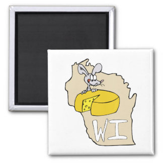 Wisconsin WI Map & Cheese Mouse Cartoon Art 2 Inch Square Magnet