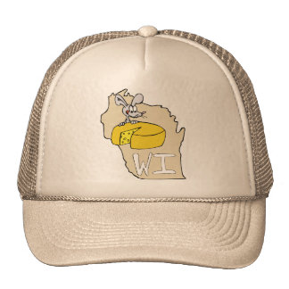 Wisconsin WI Map & Cheese Mouse Cartoon Art Trucker Hat