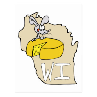 Wisconsin WI Map & Cheese Mouse Cartoon Art Postcard