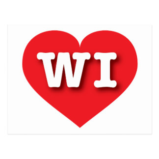 Wisconsin WI red heart Postcard