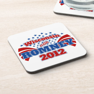 Wisconsin with Romney 2012 Beverage Coaster