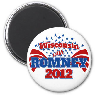 Wisconsin with Romney 2012 Magnet