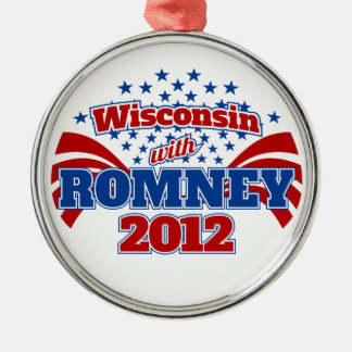 Wisconsin with Romney 2012 Metal Ornament