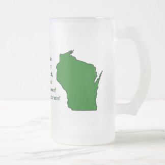 Wisconsinite Champions Football, Cheese and Beer Frosted Glass Beer Mug