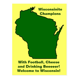 Wisconsinite Champions Football, Cheese and Beer Postcard