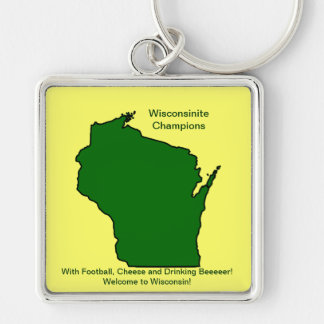 Wisconsinite Champions Football, Cheese and Beer Silver-Colored Square Keychain