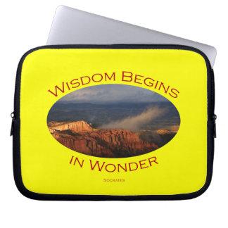 wisdom begins in wonder computer sleeves
