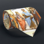 """Wisdom begins in Wonder - School of Athens Tie<br><div class=""""desc"""">Background is Raphael&#39;s famous school of Athens with Socrates famous quote superimposed on the bottom.</div>"""