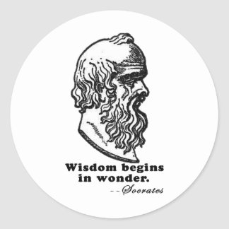Wisdom Begins in Wonder Socrates Quote Tshirt Classic Round Sticker