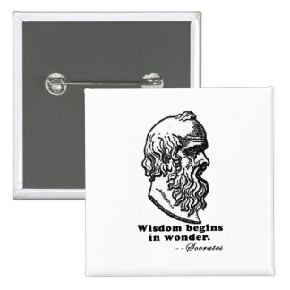 Wisdom Begins in Wonder Socrates Quote Tshirt Pinback Button