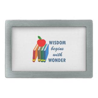 wisdom begins with wonder belt buckle