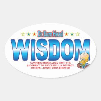 Wisdom Dr Bum Head Oval Sticker