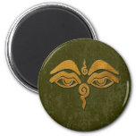 wisdom eyes - gold fridge magnet