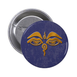 wisdom eyes - gold pinback button