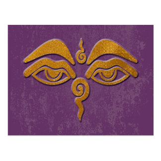 wisdom eyes - gold postcard